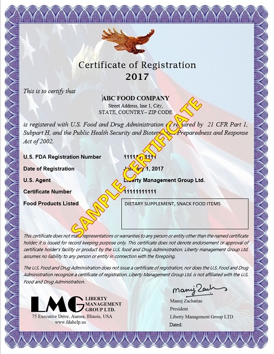 FDA Certificate - Coffee Registration