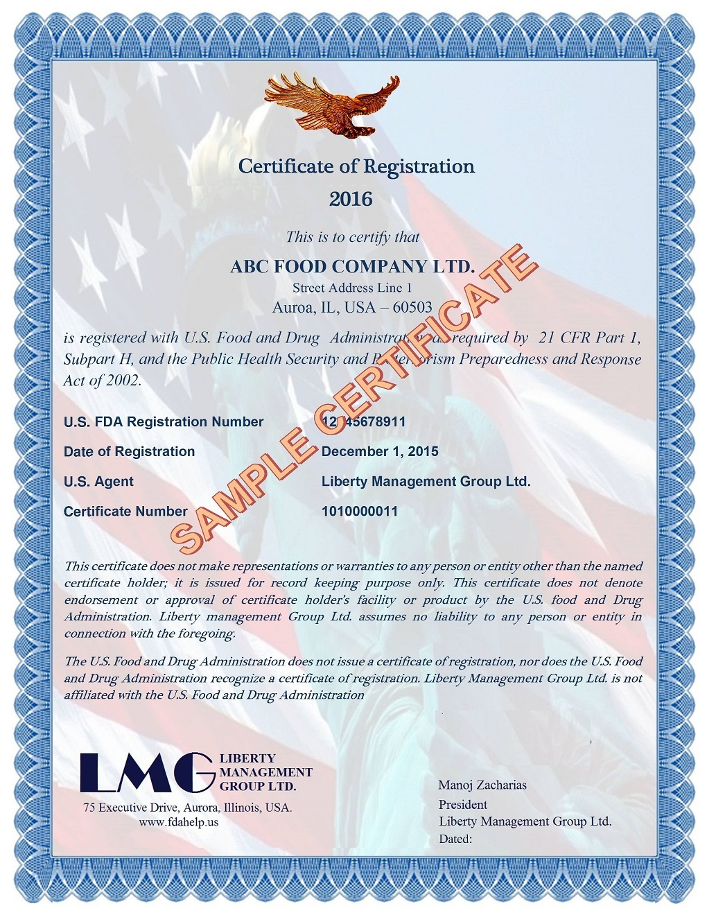 FDA Registration Certificate - Medical Device FDA Certificates by ...