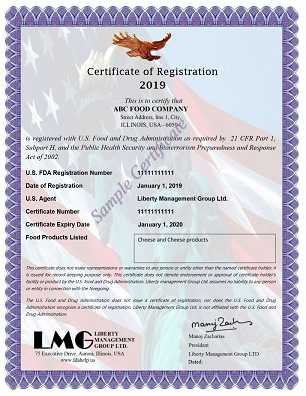 FDA Certificate - Cheese products Registration