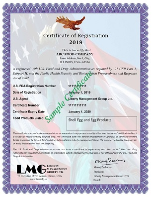 FDA Certificate - Egg and Egg Products